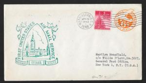 UNITED STATES First Flight Cover 1946 Washington DC to Ottawa Canada