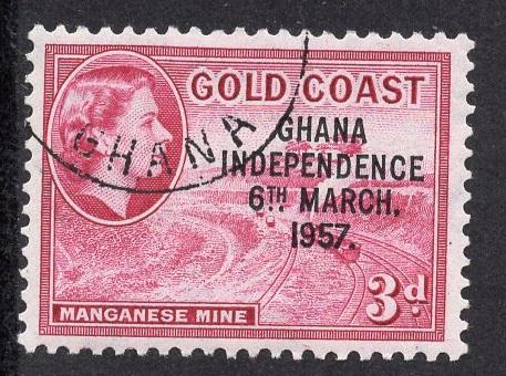 Ghana   #8  1957  cancelled  3d. Goldcoast stamp with independence overprin t