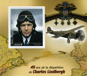 Congo 2019 CHARLES LINDBERGH Airplane s/s Perforated Mint (NH) #1