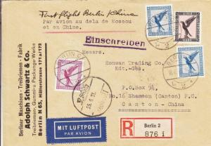 1931, 1st Flt. via Russia, Berlin, Germany to Canton, China, See Remark (23329)
