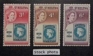 St. Helena 153-55. 1956 3p-6p Stamp Centenary, NH