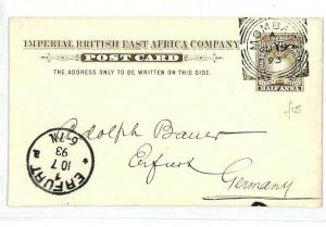 BRITISH EAST AFRICA Kenya Mombasa Postal Stationery GERMANY Erfurt 1893 CW252
