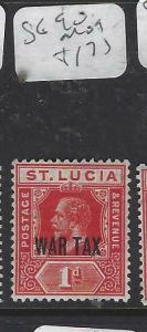 ST LUCIA  (P2905B)   KGV  WAR TAX  SG 90   MOG