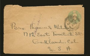 India King Edward VII Pre-stamped Half Anna Green Cover to USA Used