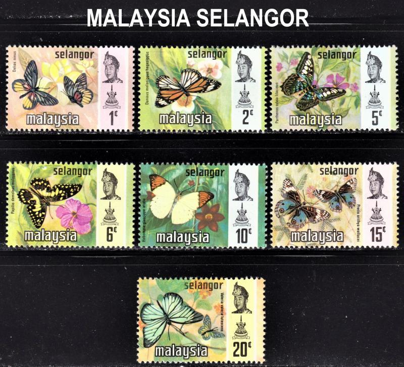 Malaysia Selangor Scott 128-134  complete set  F to VF mint OG NH.