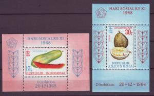 Z515 Jlstamps 2 1968 indonesia s/s mh #b747a, 748a fruits