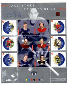 Canada Sc 1935 2002 NHL All Stars stamp souvenir sheet mint NH