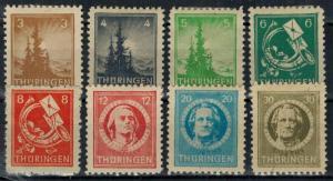 Germany - Russian Zone - Thuringia - Scott 16N1-16N8 MH