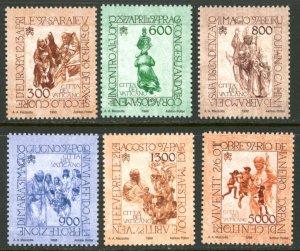 Vatican City MNH mint 1089-94 pope john paul II travel      (Inv 001768.)