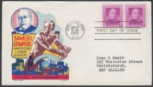 USA 1950 Samuel Gompers - Cachet Craft FDC - Ken Boll - to New Zealand......M126