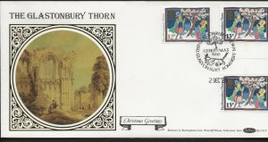 2/12/1986 13p GUTTER PAIR EX-CHRISTMAS STAMP PACK +12P CHRISTMAS BOTH ON ONE FDC