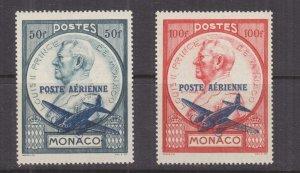 MONACO, 1946 Airmail overprint pair, lhm.
