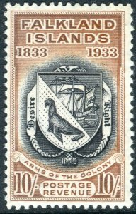 FALKLAND ISLANDS-1933 Centenary 10/- Black & Chestnut.  A mounted mint  Sg 137