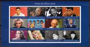 Chad 2018 Icons of 20th.Century/The Beatles/Elvis Presley/M.Monroe Shlt (12) MNH