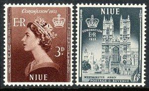 Niue 104-105, MNH. Coronation.Queen Elizabeth QE II. Westminster Abbey,1953