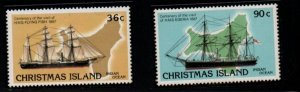 Christmas Island Sc 194-95 Visiting Ships stamp set mint NH