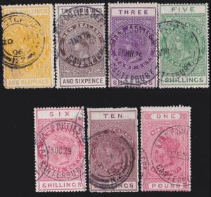 NEW ZEALAND 1880 Stamp Duty 7 values 2/6 to £1 used.........................4733