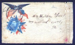 US #63 PATRONIC WAR COVER, Fancy red and blue eagle with flag,  some wear, SU...