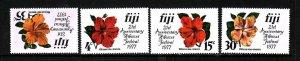 Fiji-Sc#376-9-unused NH set-Flowers-Hibiscus-id3-1977-