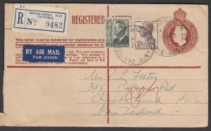AUSTRALIA 1952 GVI 1/0½d registered envelope uprated airmail to NZ...... ...N605