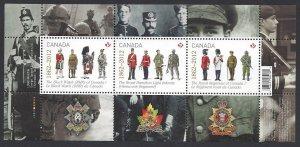 Canada #2577 MNH souvenir sheet, Canadian regiments, issued 2012