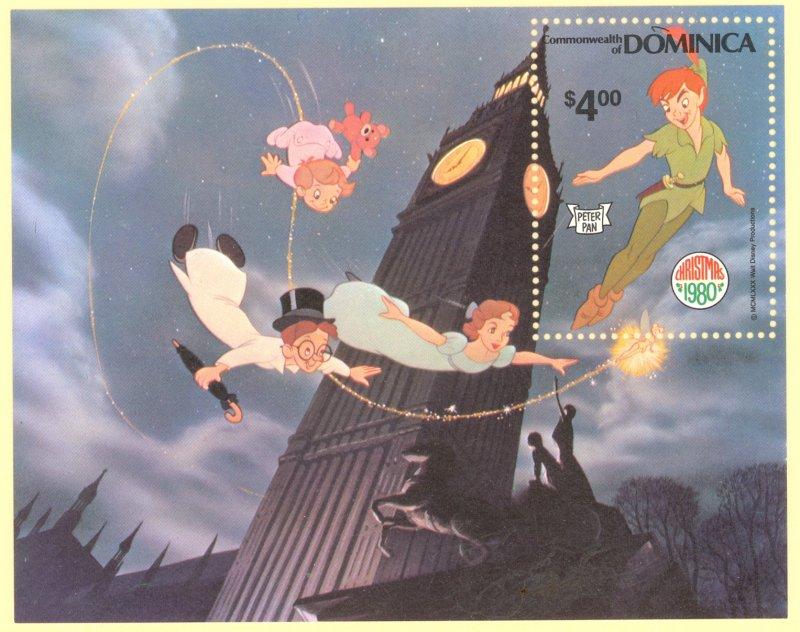 DOMINICA 1980 DISNEY PETER PAN CHRISTMAS Souvenir Sheet Sc 688 MNH