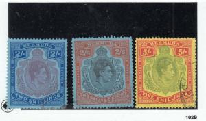 BERMUDA # 123-125  VF-USED 2,2/6,5sh KING GEORGE VI /ULTRA/RED/YEL CAT VALUE $36