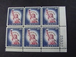 US # 1041B-MINT NEVER/HINGED---LR--PLATE # BLOCK OF 6---STATUE OF LIBERTY--1954