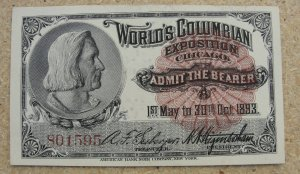 1893 World's Columbian Expo Ticket – Columbus - #801595