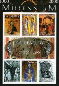 Turkmenistan 1999 Pope Alexander III-Religion Millennium 12th.Cent.Shlt.IMPERF.