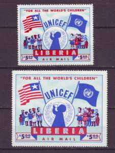 J16908 JLstamps 1954 liberia mnh #c77 reg size & 63x49mm size  unicef $75.00 scv