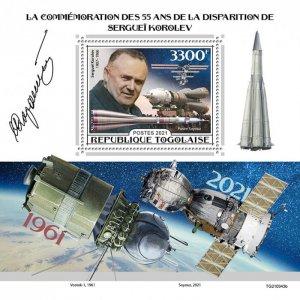 TOGO - 2021 - Sergei Korolev - Perf Souv Sheet - Mint Never Hinged