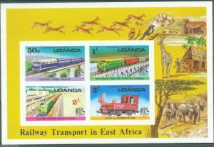 UGANDA RAILWAY TRANSPORT IN EAST AFRICA SHEET SC#158a IMPERFORATED MINT NH