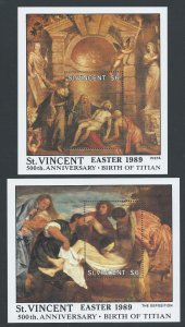 St. Vincent #1161-2 NH Easter '89 Titian Paintings (2 SS)