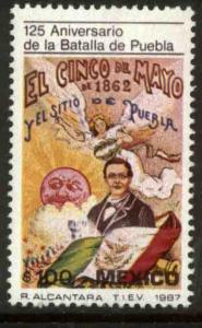 MEXICO 1478 BATTLE OF PUEBLA, CINCO DE MAYO 125th ANNIV. UNUSED, NG. VF.