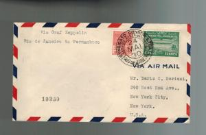 1930 Brazil Graf Zeppelin cover Private Condor Stamp to USA
