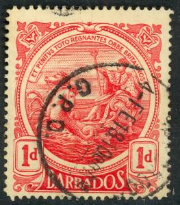BARBADOS 1916-18 KGV 1d Red SEAL OF COLONY Issue Sc 129 VFU