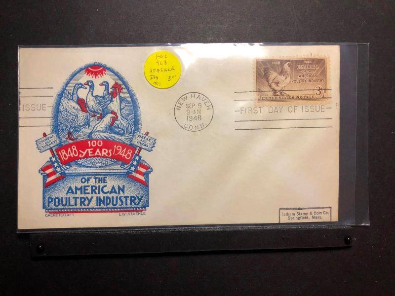 US FDC 9 Sep 1948 SC968 Staehle Cachet 100 Years of American Poultry Industry