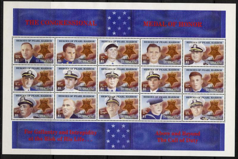 St Vincent 1559 MNH Heroes of Pearl Harbor, Military, Ships, Medals