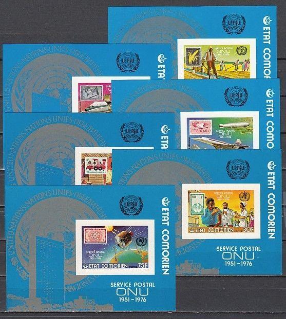 Comoros Is., Scott cat. 215-220. U.N. Postal Administration s/sheets