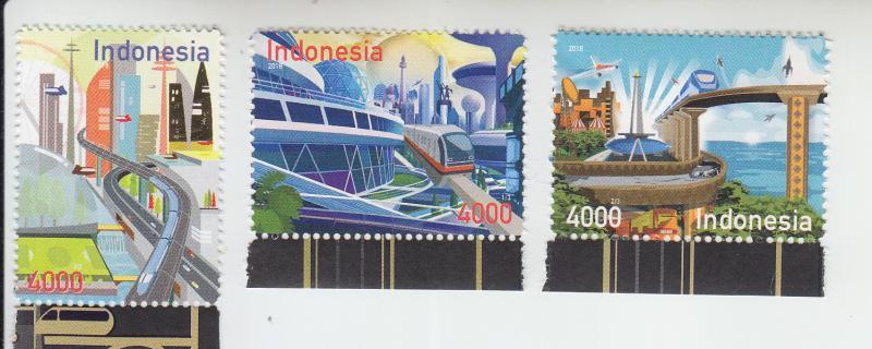 2018 Indonesia Path to 2045 Trains (3) (Scott 2483-85) MNH