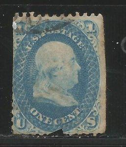KStamps Lot A 133 Scott # 63 1c Franklin Blue  Used  CV50.00