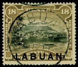 LABUAN SG71, 18c olive-brown, VFU. Cat £60. P.14½-15.