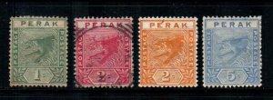 Malaya - Perak #42-45  Mint & Used  Scott $7.45