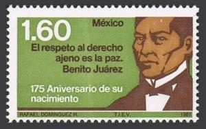 Mexico 1229 block/4,MNH.Michel 1742. Benito Juarez,President of Mexico,1981.
