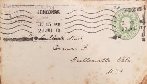 J) 1917 ENGLAND, WITN SLOGAN CANCELLATION, AIRMAIL, CIRCULATED COVER, FROM LONDO