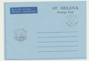 ST HELENA 1982, POSTAGE PAID AIR LETTER, JAMESTOWN CDS (SEE BELOW)