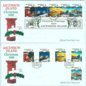 84358 - ASCENSION - Postal History - Set of 2 FDC COVER 1993 Christmas TRANSPORT