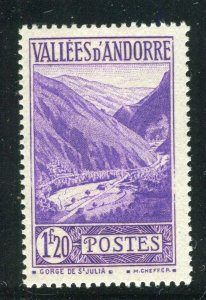 FRENCH ANDORRA; 1932 early Pictorial issue fine Mint hinged 1.20Fr. value