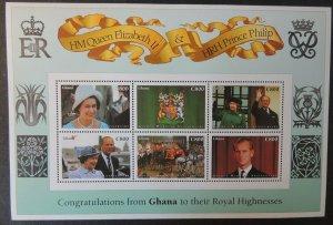 Ghana 1997 qeii golden wedding royalty 6v MS MNH